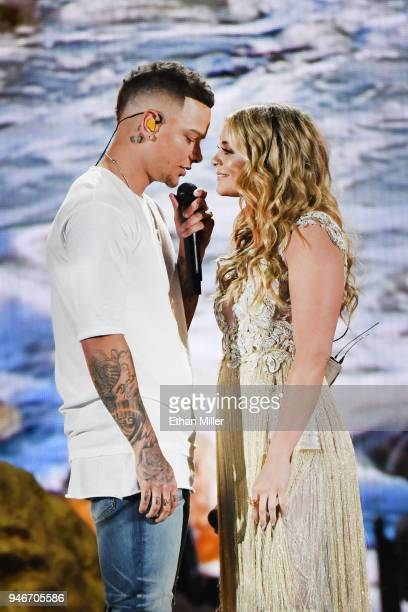 Kane Brown and Lauren Alaina winner of the New Female Vocalist of the Year award perform onstage during the 53rd Academy of Country Music Awards at...