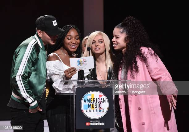 Kane Brown Normani Bebe Rexha and Ella Mai attend the 2018 American Music Awards Nominations Announcement at YouTube Space LA on September 12 2018 in...