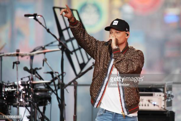 Kane Brown performs at the 2019 CMT Music Awards at Bridgestone Arena on June 05, 2019 in Nashville, Tennessee.