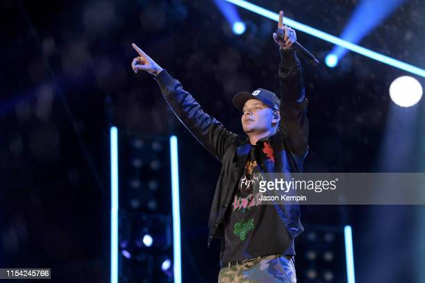 Kane Brown performs onstage during day 1 of 2019 CMA Music Festival on June 6 2019 in Nashville Tennessee