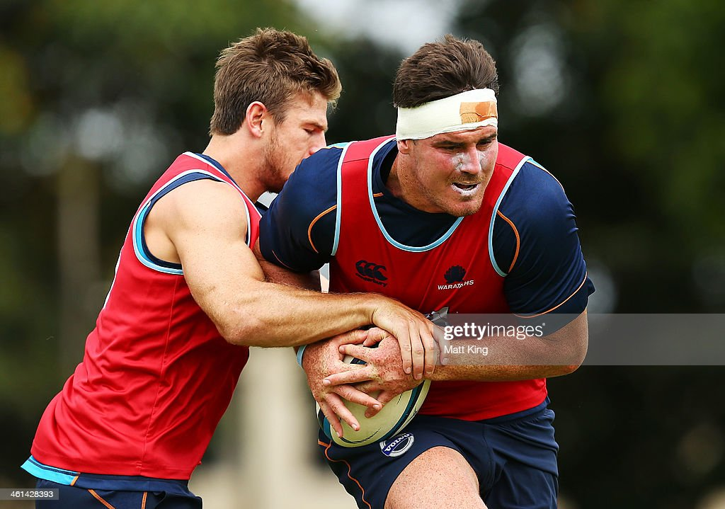 Kane Douglas runs with the ball during a Waratahs Super Rugby training sesssion at Moore Park on January 9, 2014 in Sydney, Australia.