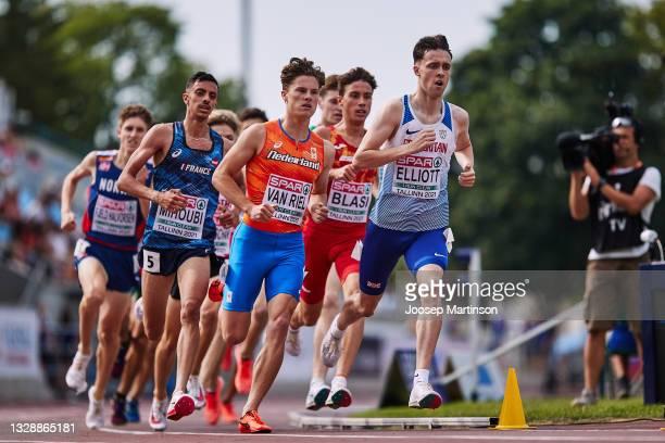 Kane Elliott of Great Britain competes in the Men's 1500m round 1 heats during European Athletics U20 Championships Day 1 at Kadriorg Stadium on July...