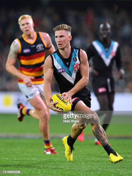 Kane Farrell of Port Adelaide during the round eight AFL match between the Port Adelaide Power and the Adelaide Crows at Adelaide Oval on May 08,...