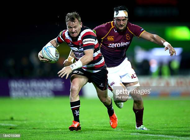 Kane Hancy of Counties runs the ball during the round nine ITM Cup match between Counties Manukau and Southland at ECOLight Stadium on October 11...