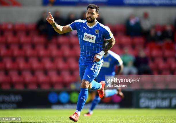 Kane Hemmings of Notts County celebrates after scoring his team's first goal during the Sky Bet League Two match between Swindon Town and Notts...