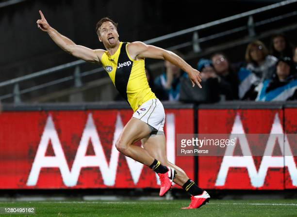 Kane Lambert of the Tigers celebrates after scoring a goal during the AFL First Preliminary Final match between the Port Adelaide Power and Richmond...