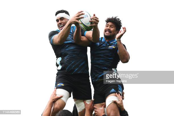 Kane Leaupepe and Ardie Savea compete for a lineout during a Hurricanes Super Rugby media opportunity at Rugby League Park on April 23, 2019 in...