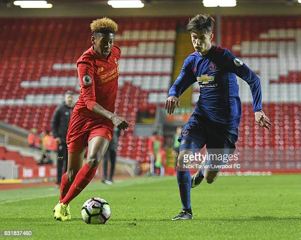 Kane Lewis of Liverpool and Callum Gribbin of Manchester United in action during the Liverpool v Manchester United Premier League 2 game at Anfield...
