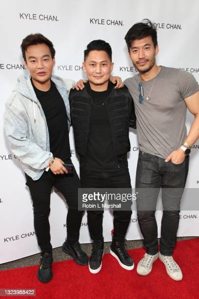 Kane Lim, Kyle Chan and Kevin Kreider attend Kyle Chan's retail store opening at Kyle Chan Design on June 16, 2021 in Los Angeles, California.