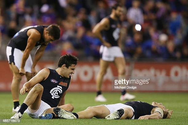 Kane Lucas and Tom Bell of the Blues celebrate their win on the siren during the round five AFL match between the Western Bulldogs and the Carlton...