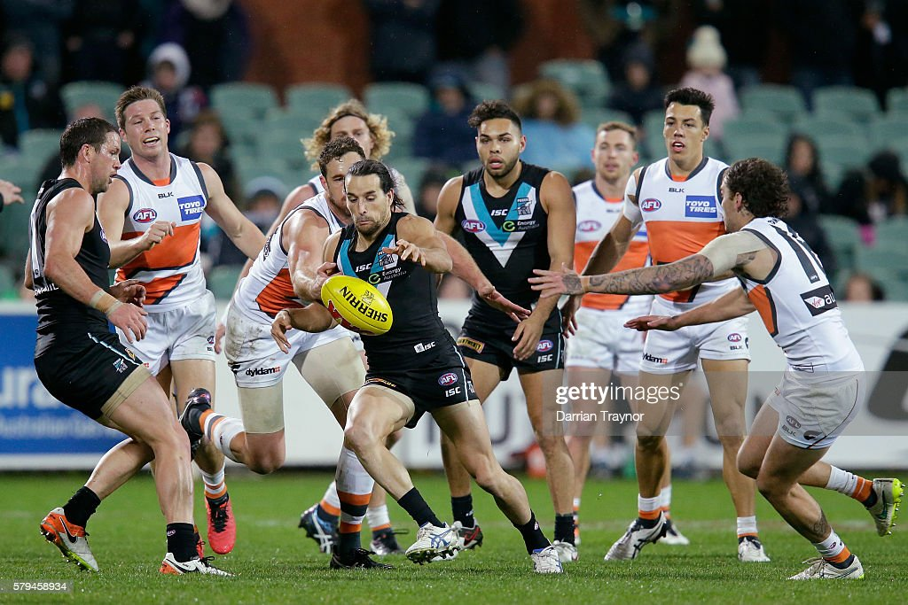 Kane Mitchell of the Power kicks the ball during the round 18 AFL match between the Port Adelaide Power and the Greater Western Sydney Giants at Adelaide Oval on July 24, 2016 in Adelaide, Australia.