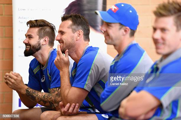 Kane Richardson of Australia and Shaun Tait of Australia look on during a training session at Gilles Field on January 25 2016 in Adelaide Australia