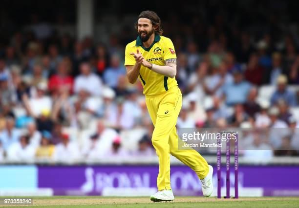 Kane Richardson of Australia celebrates dismissing Jonny Bairstow of England during the 1st Royal London ODI match between England and Australia at...