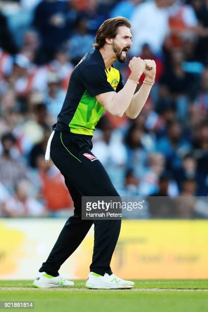 Kane Richardson of Australia celebrates the wicket of Colin Munro of the Black Caps during the International Twenty20 Tri Series Final match between...