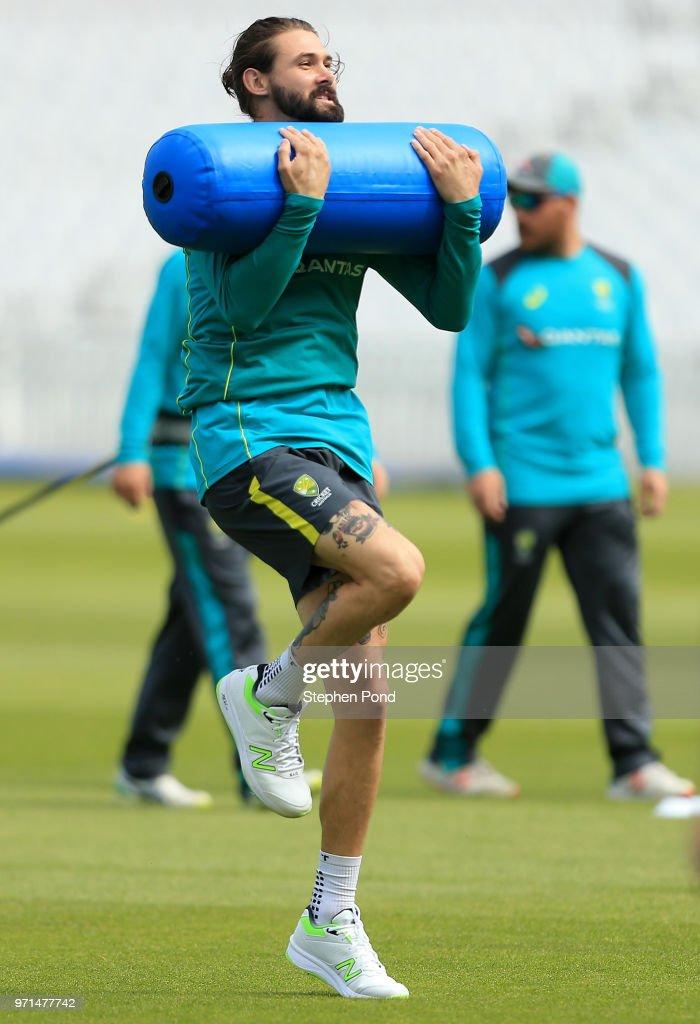 Kane Richardson of Australia during an Australia Net Session at The Kia Oval on June 11, 2018 in London, England.