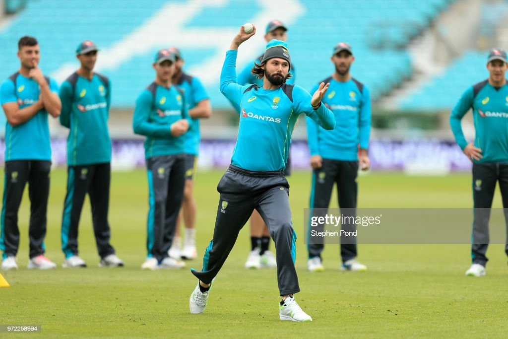 Kane Richardson of Australia during an Australia Net Session at The Kia Oval on June 12, 2018 in London, England.
