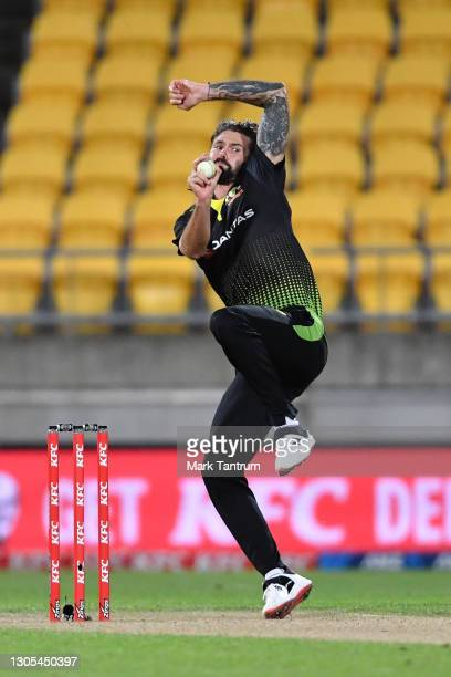 Kane Richardson of Australia during game four of the International T20 series between New Zealand Blackcaps and Australia at Sky Stadium on March 05,...