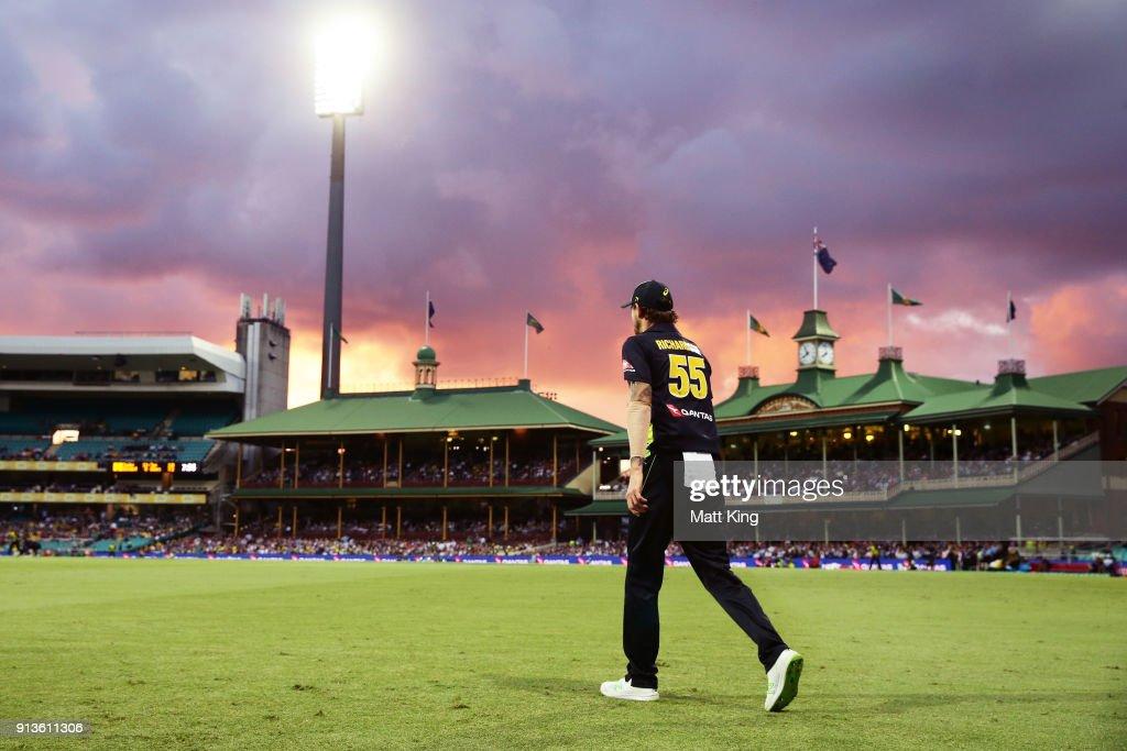 Kane Richardson of Australia fields on the boundary during game one of the International Twenty20 series between Australia and New Zealand at Sydney Cricket Ground on February 3, 2018 in Sydney, Australia.