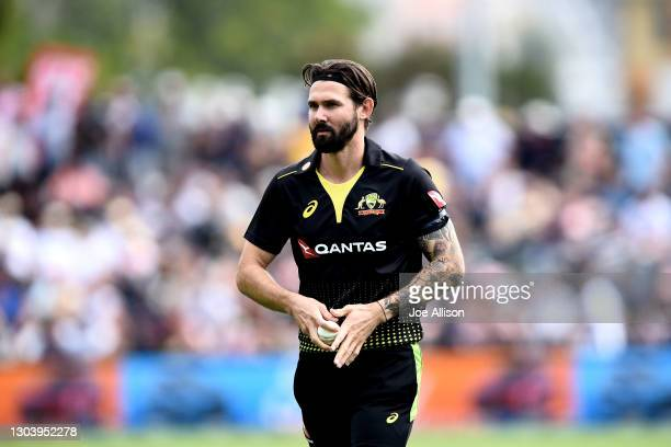 Kane Richardson of Australia looks on during game two of the International T20 series between New Zealand and Australia at University of Otago Oval...