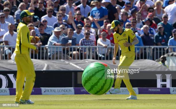 Kane Richardson of Australia with a beach ball during the fifth Royal London One-Day International match between England and Australia at Emirates...