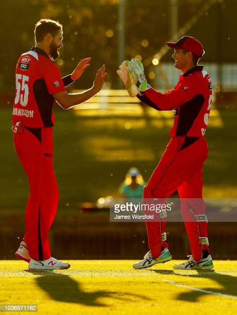 Kane Richardson of SA and Alex Carey of SA celebrates a wicket during the JLT One Day Cup match between South Australia and New South Wales at the...
