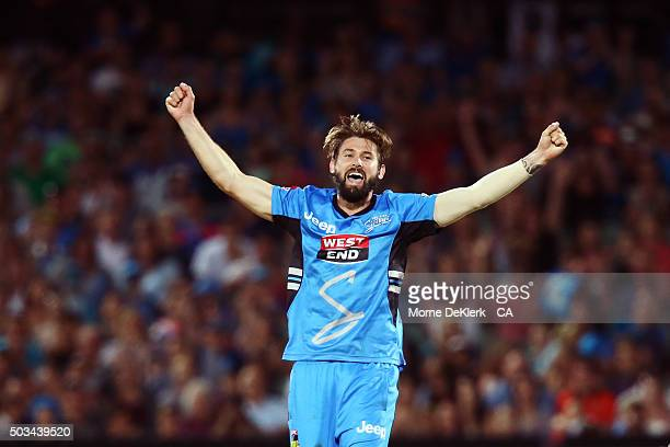 Kane Richardson of the Adelaide Strikers celebrates after getting the last Scorchers wicket to win the Big Bash League match between the Adelaide...