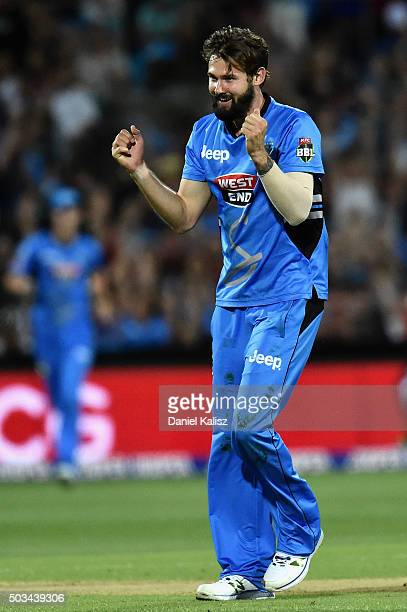 Kane Richardson of the Adelaide Strikers reacts after bowling out Brad Hogg of the Scorchers during the Big Bash League match between the Adelaide...