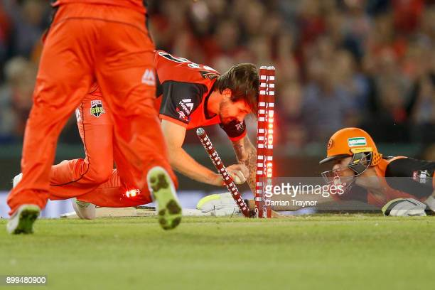 Kane Richardson of the Melbourne Renegade runs out Jhye Richardson of the Perth Scorchers during the Big Bash League match between the Melbourne...