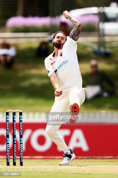 Kane Richardson of the Redbacks bowls during day two of the Sheffield Shield match between South Australia and Tasmania at Karen Rolton Oval on...