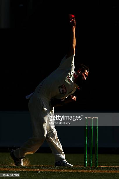 Kane Richardson of the Redbacks bowls during day two of the Sheffield Shield match between South Australia and New South Wales at Adelaide Oval on...