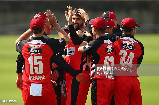 Kane Richardson of the Redbacks celebrates after taking the wicket of Marnus Labuschagne of the Bulls during the Matador BBQs One Day Cup match...