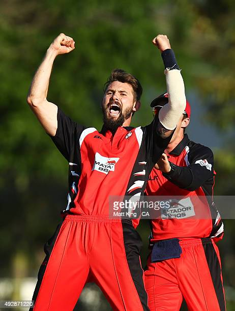 Kane Richardson of the Redbacks celebrates taking the final wicket of Jon Holland of the Bushrangers for victory during the Matador BBQs One Day Cup...