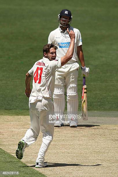 Kane Richardson of the Redbacks celebrates the wicket of Cameron White of the Bushrangers during day one of the Sheffield Shield match between the...