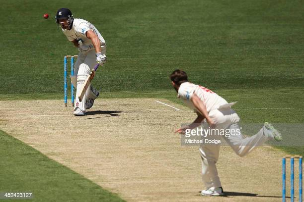 Kane Richardson of the Redbacks dismisses Cameron White of the Bushrangers caught behind by Tim Ludeman during day one of the Sheffield Shield match...