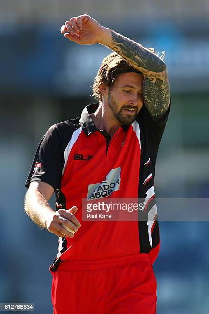 Kane Richardson of the Redbacks walks back to his bowling mark during the Matador BBQs One Day Cup match between South Australia and Victoria at WACA...