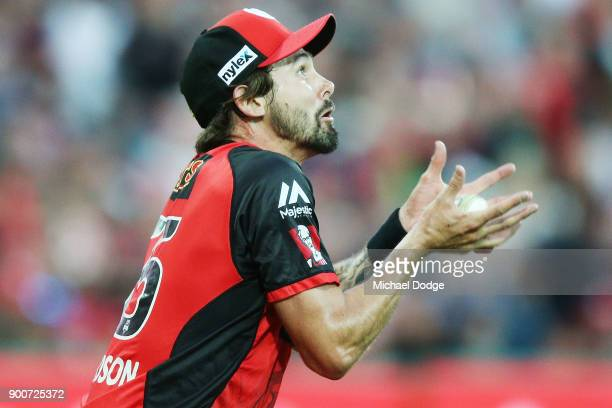 Kane Richardson of the Renegades catches out Ben Dwarshuis of the Sixers during the Big Bash League match between the Melbourne Renegades and the...