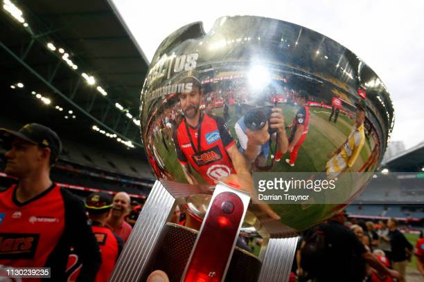 Kane Richardson of the Renegades celebrates after the Big Bash League Final match between the Melbourne Renegades and the Melbourne Stars at Marvel...