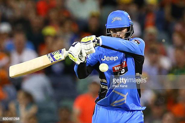 Kane Richardson of the Strikers bats during the Big Bash League between the Perth Scorchers and Adelaide Strikers at WACA on December 23 2016 in...