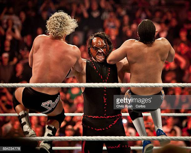 Kane taking two top stars down during the WWE Raw event at Rose Garden arena in Portland Ore Monday February 27th 2012