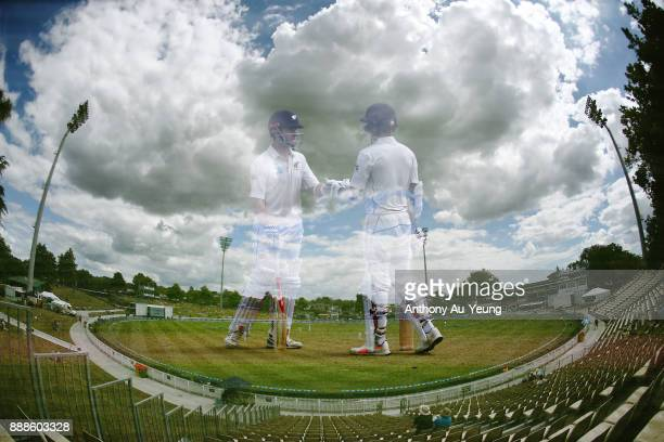 Kane Williamson and Jeet Raval of New Zealand in their partnership during day one of the second Test match between New Zealand and the West Indies at...