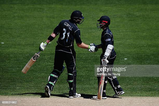 Kane Williamson and Martin Guptill of New Zealand in their partnership during the first One Day International game between New Zealand and Australia...