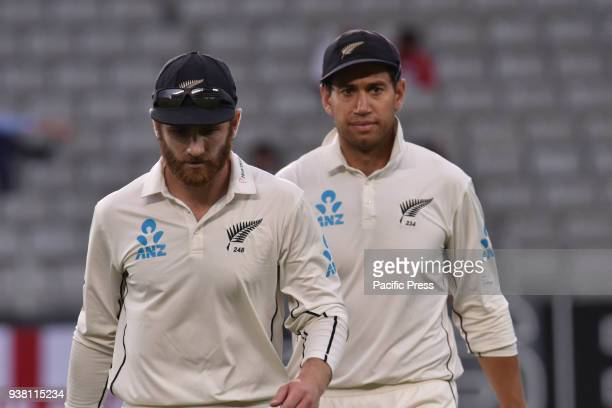 Kane Williamson and Ross Taylor of Blackcaps head to the dressing room at meal break during Day Five of the First Test match between New Zealand and...