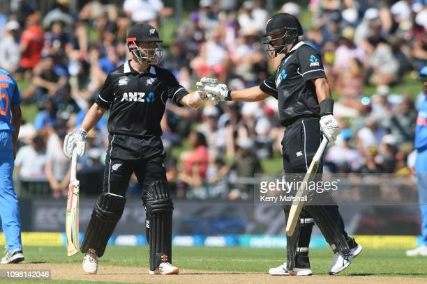 Kane Williamson and Ross Taylor of New Zealand during game one of the One Day International series between New Zealand and India at McLean Park on...