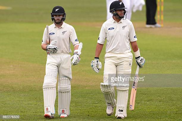 Kane Williamson and Ross Taylor of New Zealand walk off for a early lunch due to bad light during day 2 of the 1st Sunfoil International Test match...