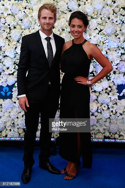 Kane Williamson and Sarah Raheem pose ahead of the 2016 New Zealand cricket awards at the Viaduct Events Centre on February 25 2016 in Auckland New...
