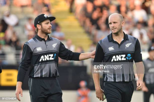 Kane Williamson and Seth Rance of New Zealand Blackcaps during the Twenty20 series between New Zealand and Pakistan at Eden Park Pakistan win by 48...
