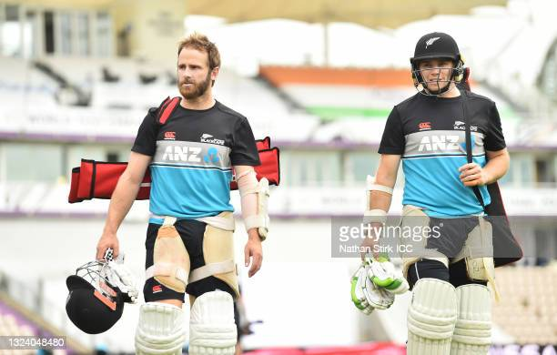 Kane Williamson and Tom Latham of New Zealand make their way to a net session at The Ageas Bowl on June 17, 2021 in Southampton, England.