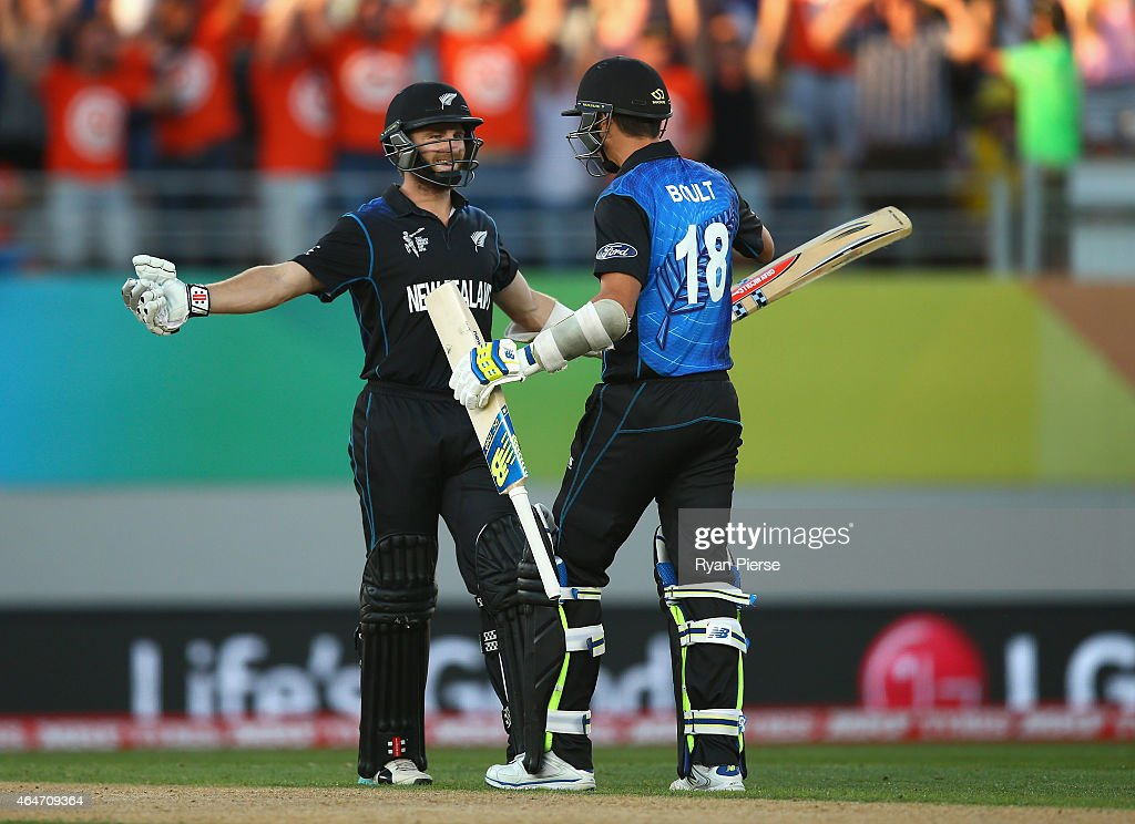 Kane Williamson and Trent Boult of New Zealand celebrate after hitting the winning runs during the 2015 ICC Cricket World Cup match between Australia and New Zealand at Eden Park on February 28, 2015 in Auckland, New Zealand.