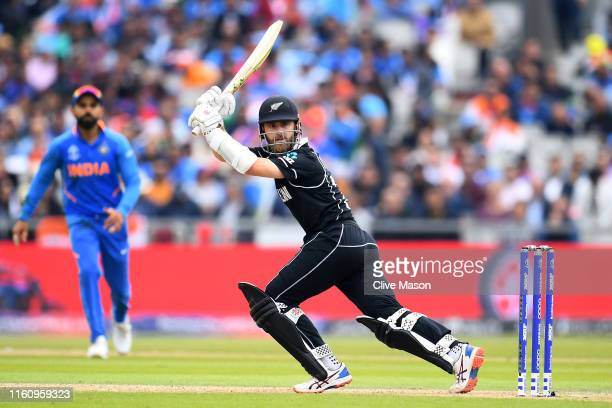 Kane Williamson, Captain of New Zealand bats during the Semi-Final match of the ICC Cricket World Cup 2019 between India and New Zealand at Old...