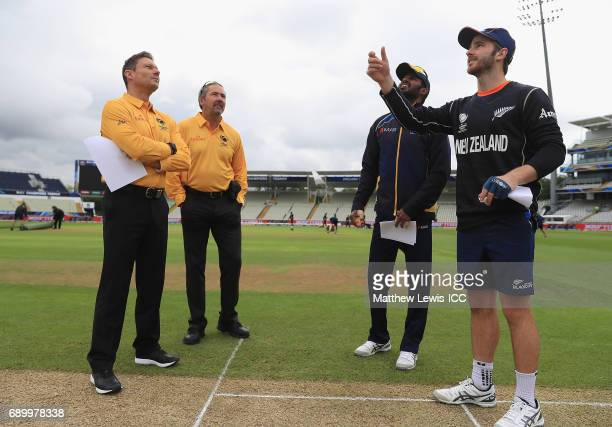 Kane Williamson captain of New Zealand pictured with Upul Tharanga Captain of Sri Lanka during the coin toss during the ICC Champions Trophy Warmup...
